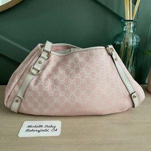Gucci Hobo GG Supreme Pink Canvas Shoulder Bag